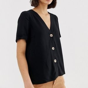 Asos Boxy V-Neck Blouse with Large buttons